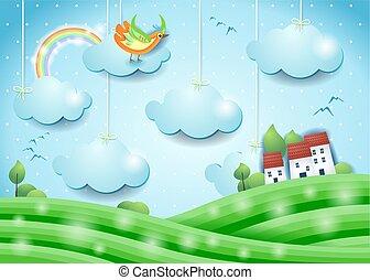 oiseau, village., paysage, papier, fantasme, art