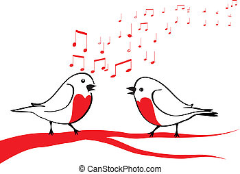 oiseaux, branche, arbre, chant
