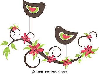 oiseaux, deux, vecteur, love.
