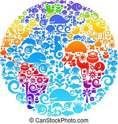 oiseaux, fait, animaux, contour, icônes, globe, fleurs