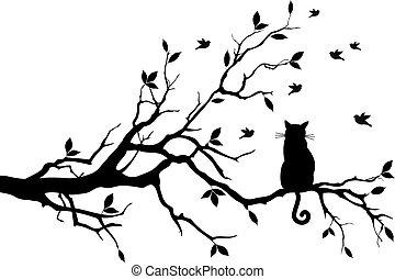 oiseaux, vecteur, arbre, chat