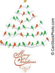 oiseaux, vecteur, arbre, noël