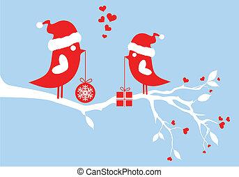 oiseaux, vecteur, santa