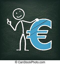 ok, stickman, euro, tableau noir