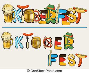 oktoberfest, texte, illustration, isolé, lettersl., vecteur, bière, conception, blanc