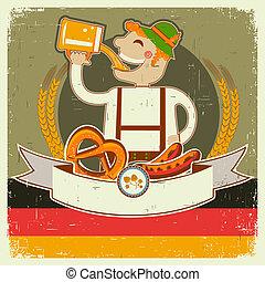 oktoberfest, texte, papier, vieux, illustration, posterl, homme, beer., vecteur, allemand, vendange
