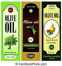 olive, étiquettes, ensemble, dessin animé, huile