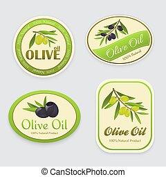 olive, étiquettes, huile
