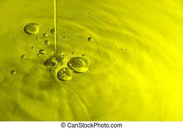 olive, bulles, huile