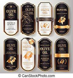 olive, ensemble, étiquettes, prime, huile