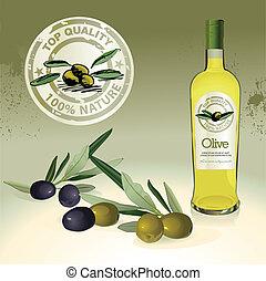 olive, olives, huile, bouteille, étiquette