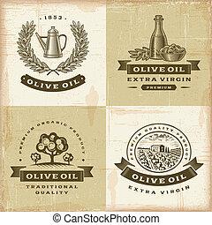olive, vendange, étiquettes, ensemble, huile