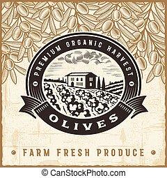 olive, vendange, récolte, étiquette