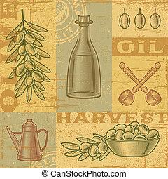 olive, vendange, récolte, fond