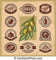 olive, vendange, timbres, ensemble