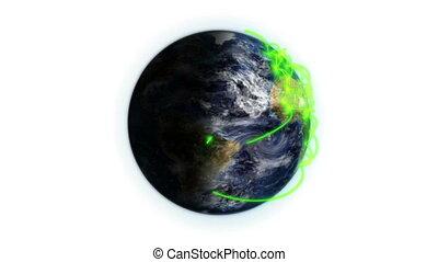 ombragé, réseau, la terre, vert