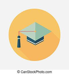 ombre, casquette, icône, eps10, plat, long, education