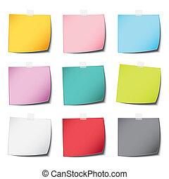 ombre, couleur, vendange, isolé, note, réaliste, papier, fond, multiplier, blanc, populaire, poste