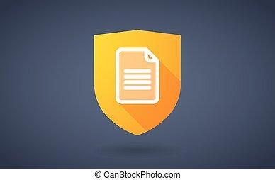 ombre, document, bouclier, long, icône