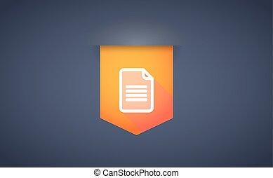 ombre, document, ruban, long, icône