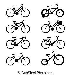 ombre, ensemble, vélo, icône