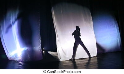 ombre, filles, silhouette, stage., danse