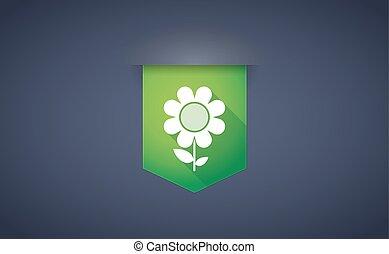 ombre, fleur, ruban, long, icône
