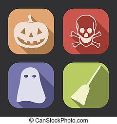 ombre, halloween, long, icône