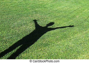 ombre, herbe, humain