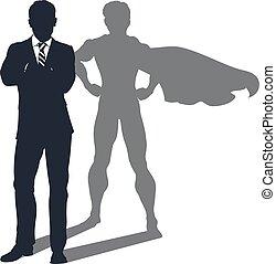 ombre, homme affaires, superhero