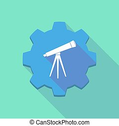 ombre, icône, engrenage, long, télescope