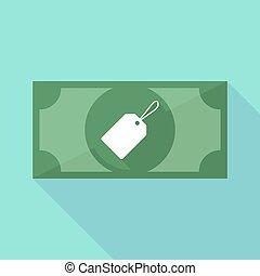 ombre, icône, long, billet banque, étiquette