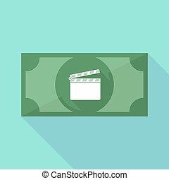 ombre, icône, long, billet banque, clapperboard