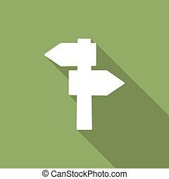 ombre, icône, route, long, vide