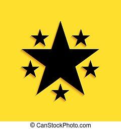 ombre, isolé, symbole., jaune, mieux, style., long, arrière-plan., étoile, classement, icône, vecteur, récompense, noir, favori