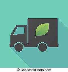 ombre, long, feuille verte, camion