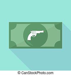 ombre, long, fusil, billet banque, icône
