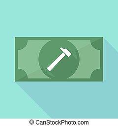 ombre, marteau, long, billet banque, icône