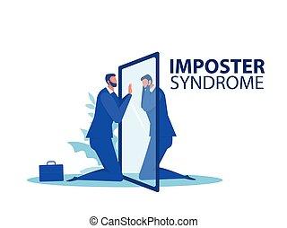 ombre, regarder, illustration, problèmes, inquiétude, miroir, vecteur, manque, imposter, soi, travail, confiance, peur, santé, derrière, syndrome.businessman