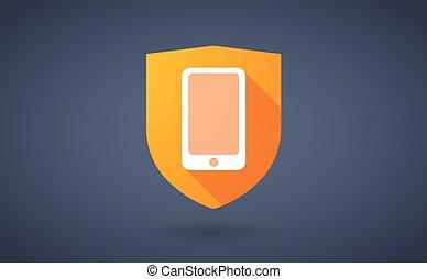 ombre, smartphone, bouclier, long, icône