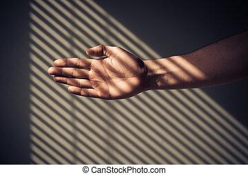 ombres, abat-jour, main homme