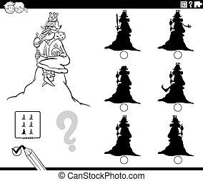 ombres, livre, roi, dessin animé, jeu, page, coloration, colline