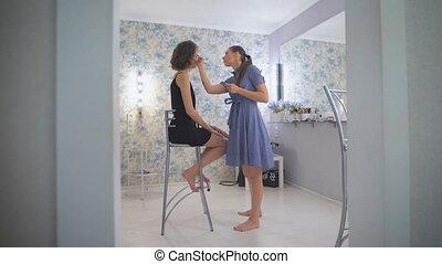 ombres, oeil, prom., image, couleur, couleurs, maître, prépare, girl