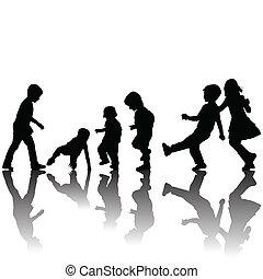 ombres, silhouettes, noir, enfants