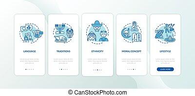 onboarding, app, mobile, concepts, traditions, culturel, écran, page, multi