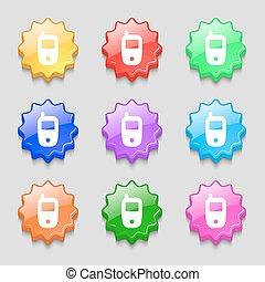 ondulé, buttons., mobile, technologie, symbole., symboles, vecteur, neuf, coloré, télécommunications