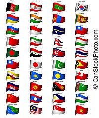 ondulé, drapeaux, asie