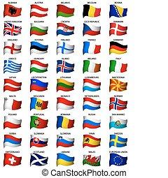ondulé, ensemble, drapeaux, européen