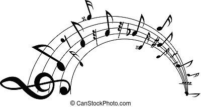 ondulé, notes, arrière-plan., vecteur, blanc, personnel musical