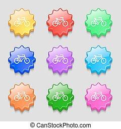ondulé, vecteur, signe., buttons., vélo, neuf, coloré, symbole, icône